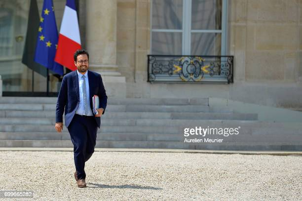 French Junior Minister in charge of Digital Economy Mounir Mahjoubi leaves the Elysee Palace after the weekly cabinet meeting with French President...