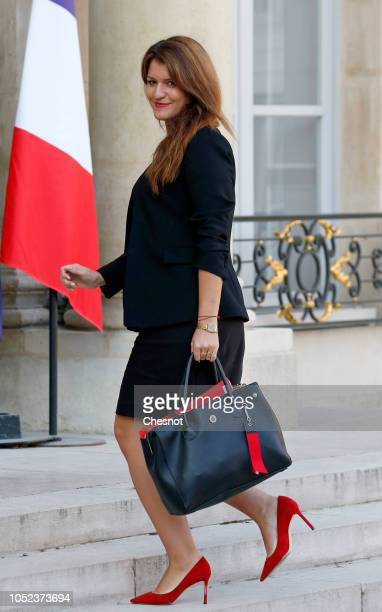 French Junior Minister in charge of Equality between men and women Marlene Schiappa arrives for a weekly cabinet meeting at the Elysee Presidential...