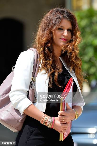 French Junior Minister in charge of Equality between Men and Women Marlene Schiappa leaves the Elysee Palace after the weekly cabinet meeting with...