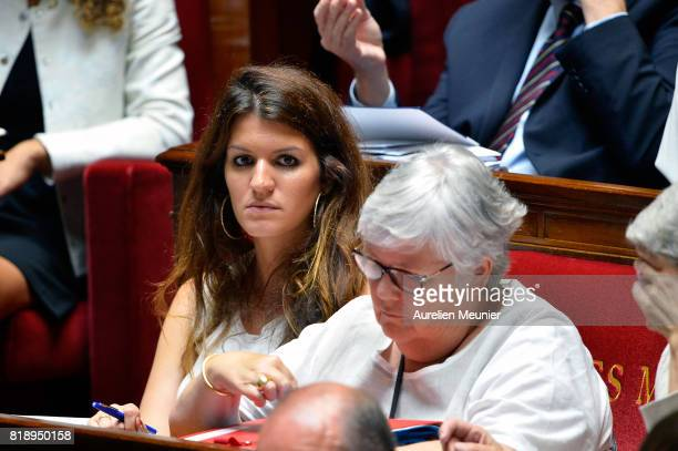 French Junior Minister in charge of Equality between Men and Women Marlene Schiappa reacts as Ministers answer deputies during the weekly questions...