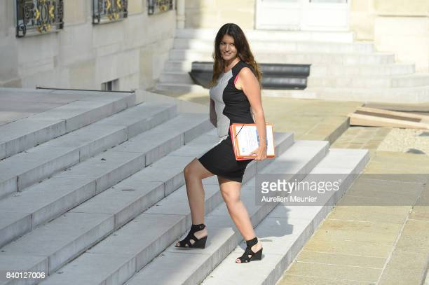 French Junior Minister in charge of Equality between Men and Women Marlene Schiappa arrives at Elysee Palace for a cabinet meeting on August 28 2017...