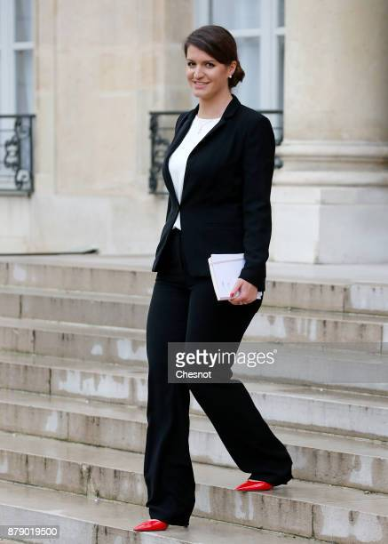 French Junior Minister in charge of Equality between men and women Marlene Schiappa leaves the Elysee Palace after a meeting as part of the...