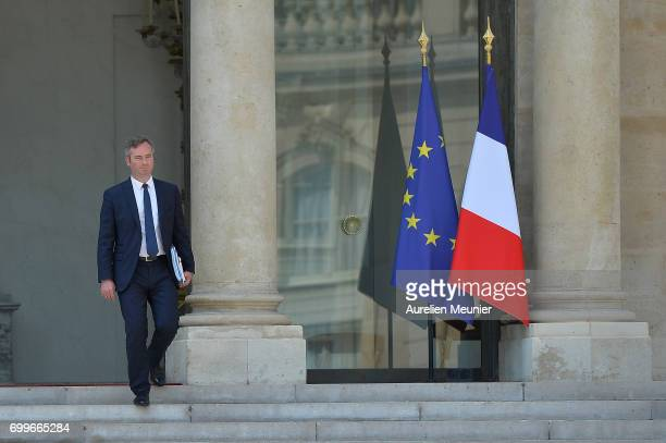 French Junior Minister in charge of European affairs JeanBaptiste Lemoyne leaves the Elysee Palace after the weekly cabinet meeting with French...