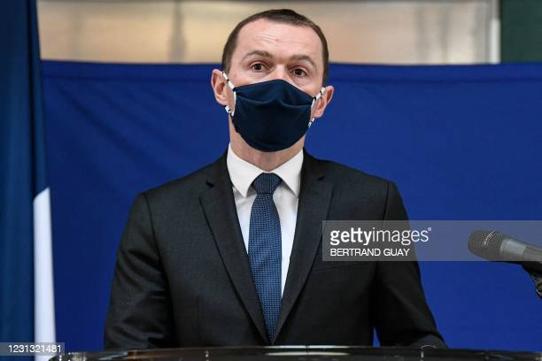 French Junior Minister of Public Action and Accounts Olivier Dussopt gives a speech during a visit to Roissy Charles-De-Gaulle airport to present his...