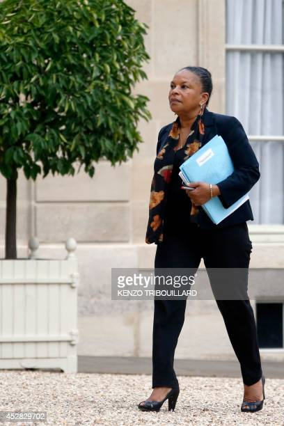 French Justice minister Christiane Taubira arrives at the Elysee Palace in Paris on July 28 for a meeting with the French President after an Air...