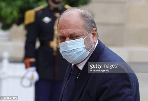 French Justice Minister Eric Dupond-Moretti arrives for a state dinner with the French President Emmanuel Macron and the Italian President Sergio...