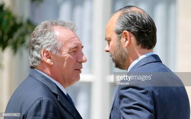 French Justice minister, Francois Bayrou and French Prime minister, Edouard Philippe leave the Elysee Presidential Palace after a weekly cabinet...