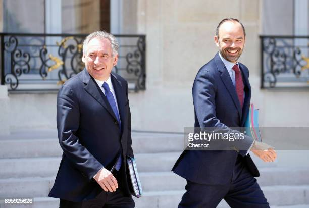 French Justice minister Francois Bayrou and French Prime minister Edouard Philippe leave the Elysee Presidential Palace after a weekly cabinet...