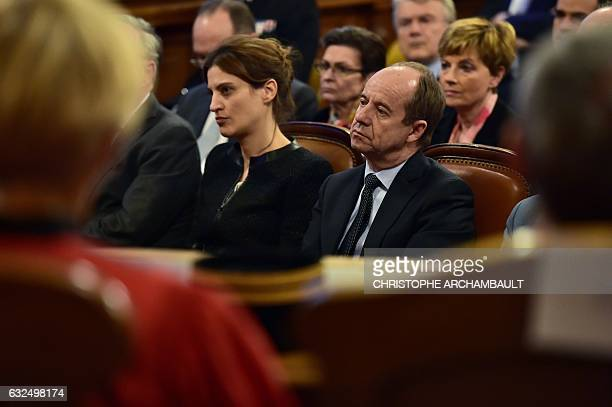 French Justice minister JeanJacques Urvoas and junior minister in charge of victims' support Juliette Meadel attend a solemn hearing to mark the...