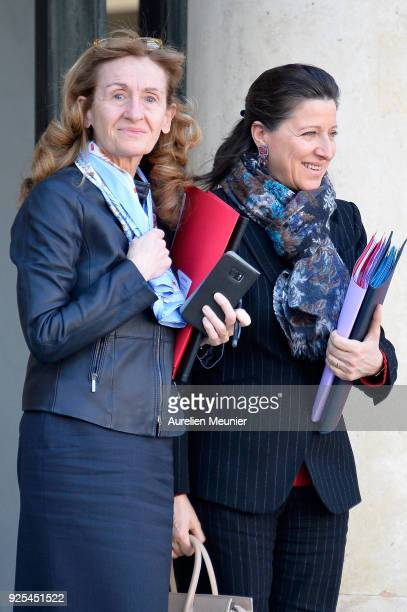 French Justice Minister Nicole Belloubet and French Health and Solidarity Minister Agnes Buzyn leave the Elysee Palace after the weekly cabinet...