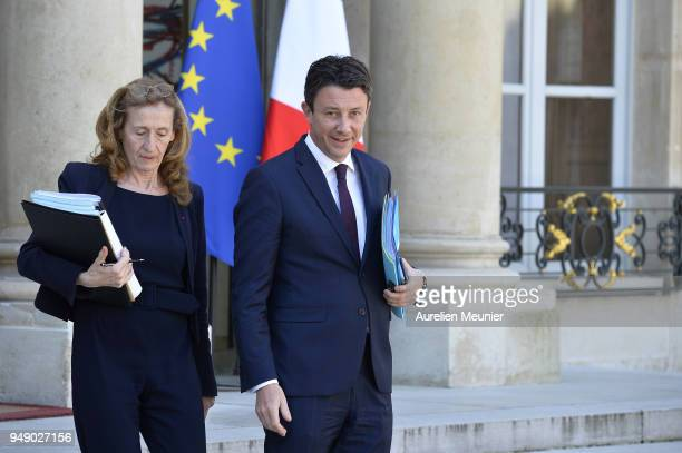 French Justice Minister Nicole Belloubet and Secretary of State to the Prime Minister and Government Spokesman Benjamin Griveaux leave the Elysee...