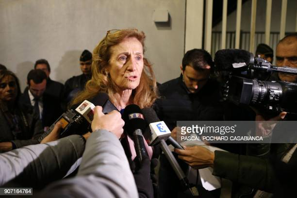 French Justice Minister Nicole Belloubet answers journalists inside the Borgo prison on the French Mediterranean Island of Corsica on January 19 2018...