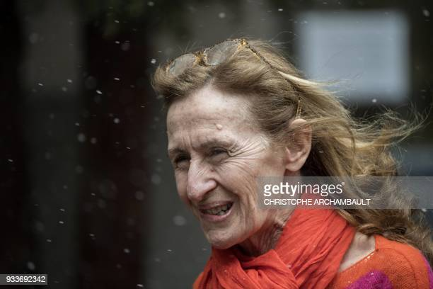 French Justice Minister Nicole Belloubet arrives at a school to attend a government seminary in Paris on March 18 2018 / AFP PHOTO / CHRISTOPHE...