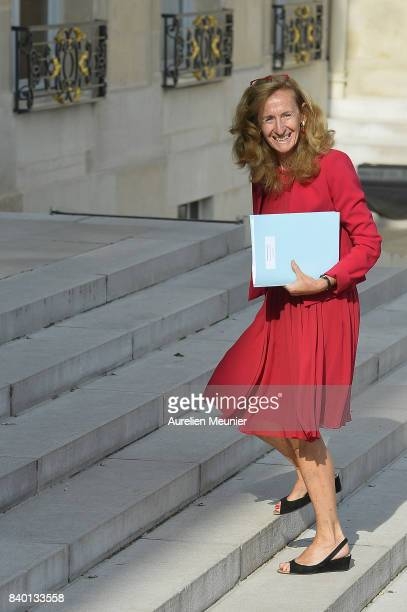 French Justice Minister Nicole Belloubet arrives at Elysee Palace for a cabinet meeting on August 28 2017 in Paris France