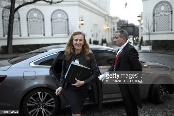 French Justice Minister Nicole Belloubet arrives to attend a government's New Year breakfast meeting at the Interior Ministry in Paris on January 3...