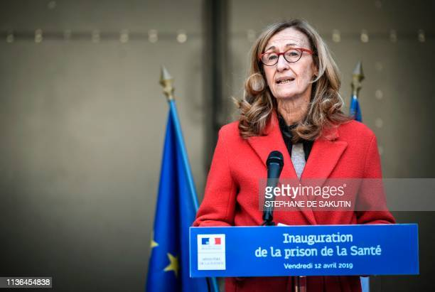 French Justice Minister Nicole Belloubet delivers a speech during the inauguration of the La Sante prison after four years of renovation on April 12...