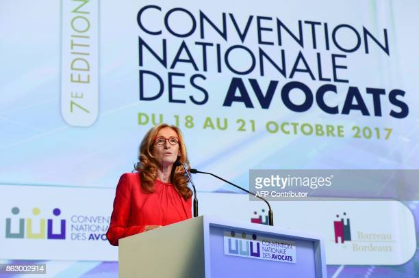 French Justice Minister Nicole Belloubet delivers a speech during the 7th French National Convention of Lawyers on October 19 2017 in Bordeaux...