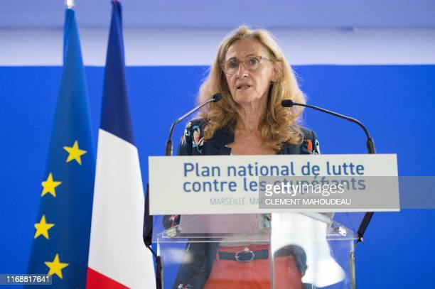 French Justice Minister Nicole Belloubet gives a press conference to present a new national plan to fight drug trafficking called 'OFAST' on...