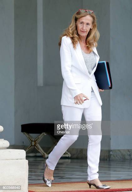 French Justice minister Nicole Belloubet leaves the Elysee Presidential Palace after a weekly cabinet meeting on june 28 2017 in Paris France On...