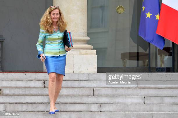 French Justice Minister Nicole Belloubet leaves the Elysee Palace after the weekly cabinet meeting with French President Emmanuel Macron on July 19...