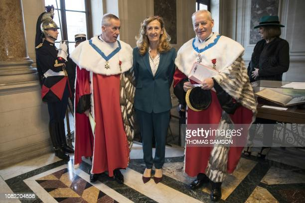 French Justice minister Nicole Belloubet poses with the First President of the Cour de Cassation Bertrand Louvel and General Prosecutor Francois...