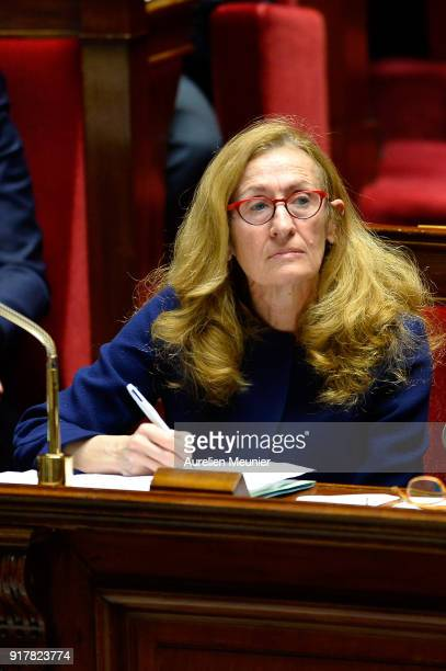 French Justice Minister Nicole Belloubet reacts as Ministers answer deputies questions during the weekly session of questions to the government at...