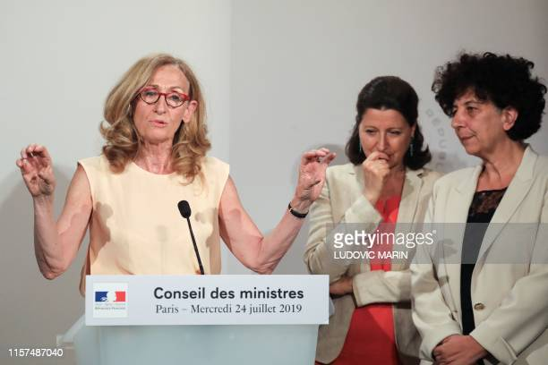 French Justice Minister Nicole Belloubet speaks as French Health and Solidarity Minister Agnes Buzyn and French Minister of Higher Education Research...