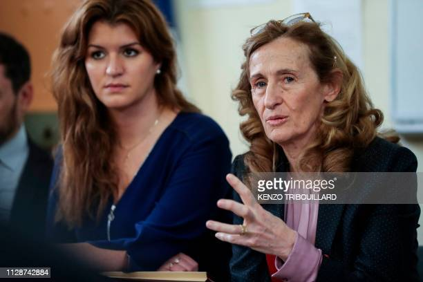 French Justice Minister Nicole Belloubet speaks past French Junior Minister attached to the Prime Minister in charge of Gender Equality Marlene...