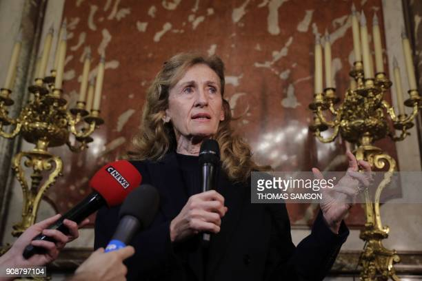 French Justice Minister Nicole Belloubet speaks to journalists after a meeting with penitentiary union representatives on January 22 2018 at the...