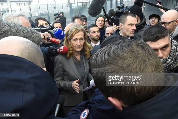 French Justice Minister Nicole Belloubet speaks to journalists as she leaves the VendinleVieil prison after her visit on January 16 as French prison...
