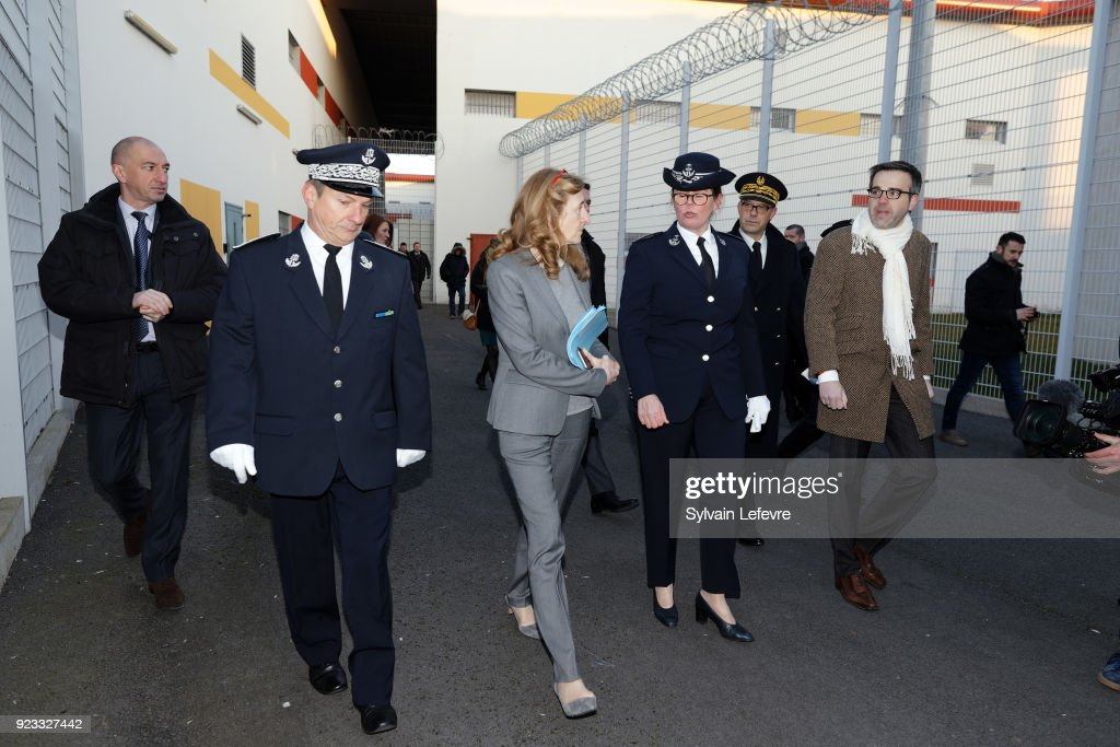 French Justice Minister Nicole Belloubet Visits Annoeulin Jail In Lille