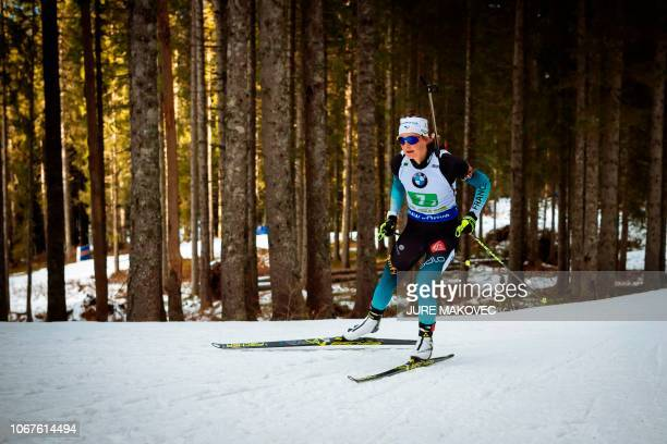 French Justine Braisaz competes during the Mixed Relay competition of the IBU Biathlon World Cup in Pokljuka on December 2 2018