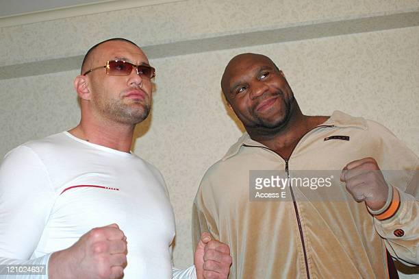 French K1 fighter Jerome Lebanner left and American Bob Sapp shake hands during a press conference held in Tokyo Japan to discuss the fighters' first...