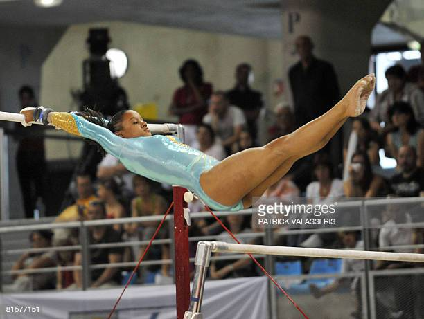 French Katheleen Lindor performs on the uneven bars during the French Gymnastics Championships on June 15 in Toulon southern France AFP PHOTO PATRICK...