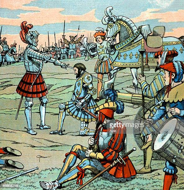 French king Francois 1st is dubbed knight by Bayard just after Marignan battle in september 14 illustration by Job 1930