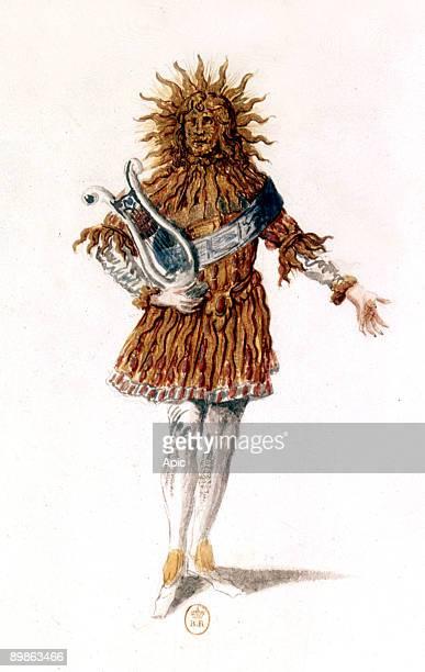 french king Louis XIV as Apollo at the Bacchus Ball may 02 engraving
