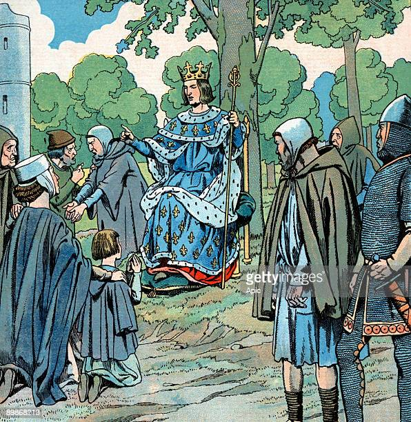 French king Saint Louis dispensing justice under an oak in Vincennes, France, illustration by Job, 1930