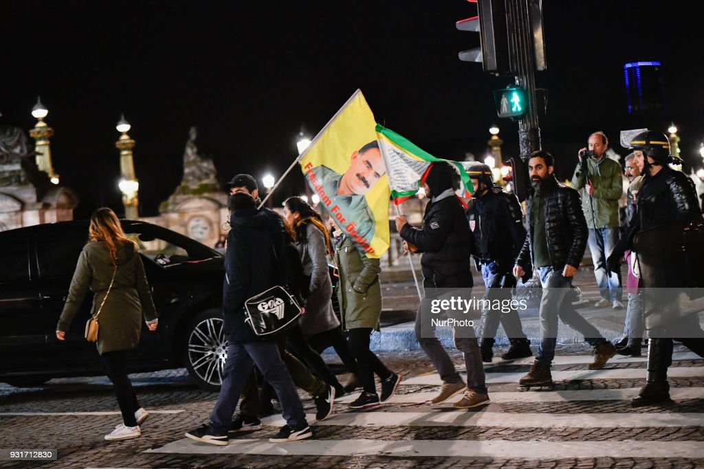 French Kurdish community is blocked and arrested by anti-riot Police for an illegal protest against the Turkish attack on Afrin near the US Embassy on Place de la Concorde in Paris on the night of the March 13, 2018. Protesters clashed with police, at least 15 people were injured.
