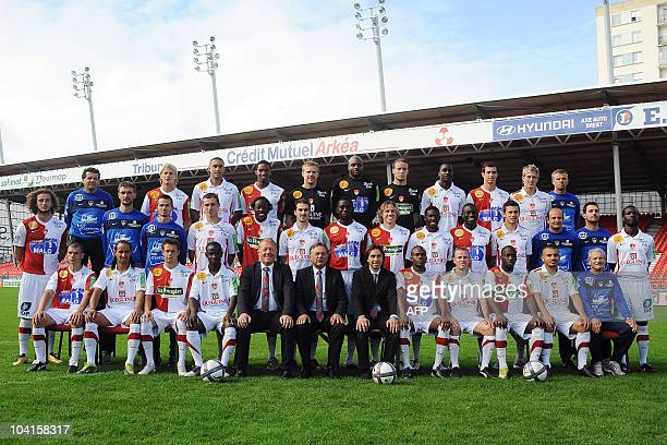 French L1 football club Brest members pose on September 16 2010 for the 20102011 season official picture at the Ble stadium in Brest western France...