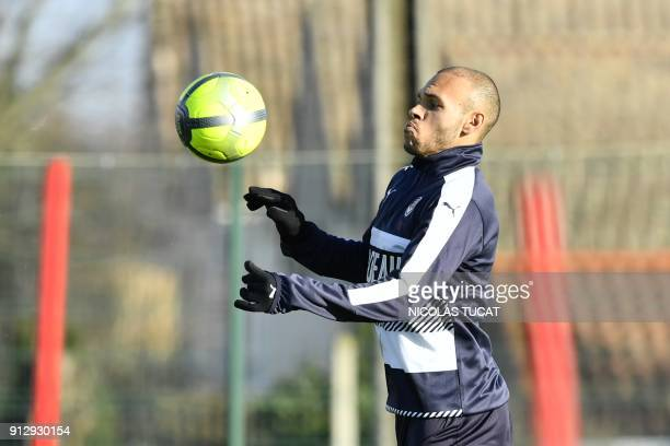 French L1 football club FC Girondins de Bordeaux' newly recruited Danish forward Martin Braithwaite controls a ball during a training session on...