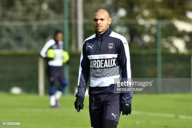 French L1 football club FC Girondins de Bordeaux' newly recruited Danish forward Martin Braithwaite attends a training session on February 1 2018 at...