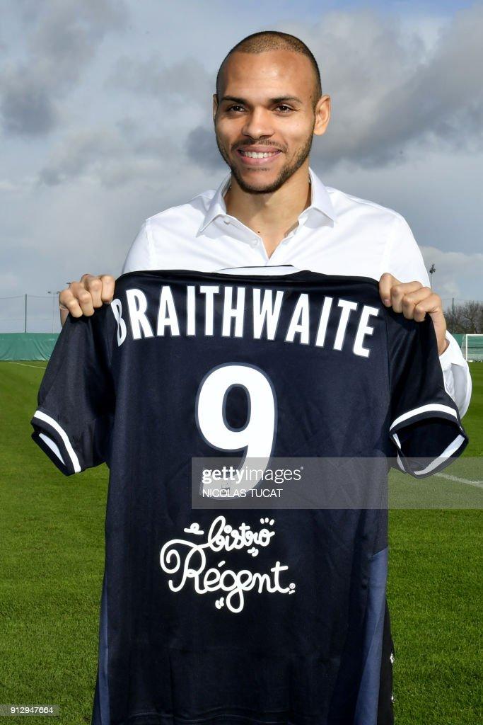French L Football Club Fc Girondins De Bordeaux Newly Recruited Danish Forward Martin Braithwaite Poses
