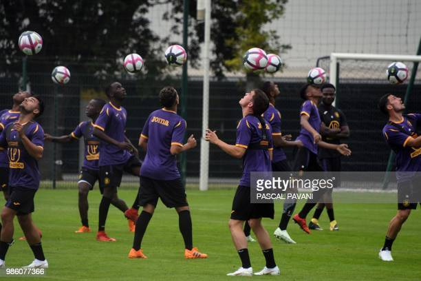 French L1 Toulouse football club's players attend a training session at the Municipal stadium in Toulouse southern France on June 28 2018