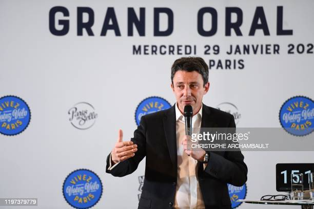 French La Republique En Marche party candidate for the Paris city hall Benjamin Griveaux speaks during the Grand Oral Velo meeting a debate focused...