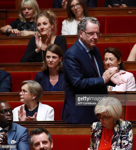 French La Republique en Marche party member of Parliament Laurianne Rossi victim of a physical assault on July 31 is applauded by La Republique En...
