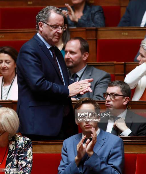 French La Republique en Marche party member of Parliament Laurianne Rossi victim of a physical assault on July 31 is applauded by REM party's group...