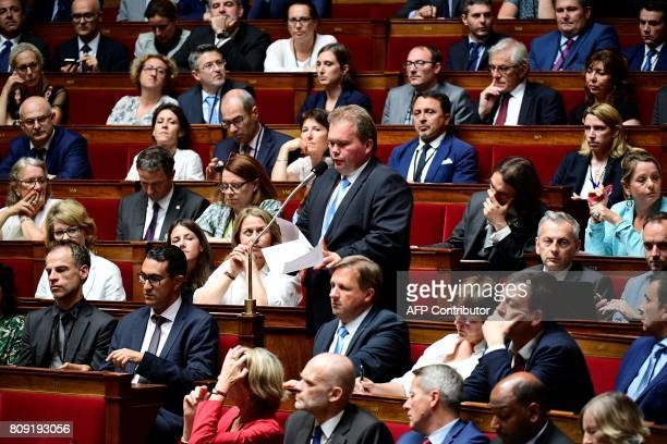French La Republique en Marche party member of Parliament JeanBaptiste Moreau speaks during a session of questions to the Government at the French...