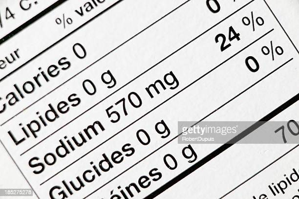 french label on product - sodium stock photos and pictures