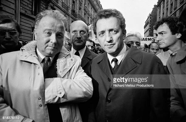 French labor union leaders Georges Seguy Henri Krasucki and Edmond Maire attend a rally for the defense of jobs outside the headquarters for French...