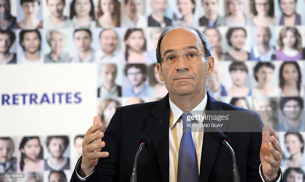 French Labour Minister Eric Woerth gestures during a press conference on the pension system on June 16, 2010 at the ministry in Paris. The French government unveiled a sweeping overhaul of its pensions system, raising the retirement age to 62 as it seeks to plug a hole in its finances and avoid a clash with unions.